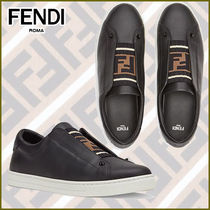 FENDI Rubber Sole Casual Style Plain Leather Logo Low-Top Sneakers