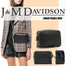 J & M Davidson Casual Style Unisex Vanity Bags 2WAY Chain Plain Leather