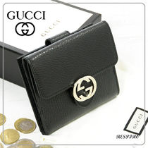 GUCCI Monogram Unisex Leather Folding Wallet Folding Wallets