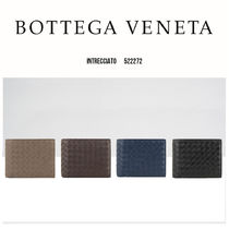 BOTTEGA VENETA Unisex Street Style Plain Leather Folding Wallet Logo