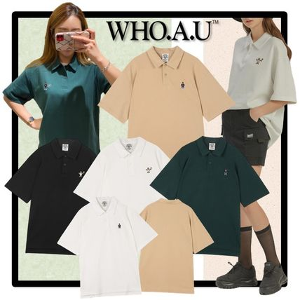 Casual Style Unisex Street Style Short Sleeves Polos