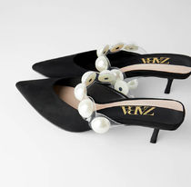 ZARA Casual Style Elegant Style Pointed Toe Pumps & Mules