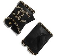 CHANEL Studded Chain Leather Logo Leather & Faux Leather Gloves