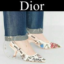 Christian Dior JADIOR Flower Patterns Casual Style Street Style Leather Pin Heels