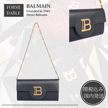 BALMAIN Bi-color Plain Leather Elegant Style Logo Clutches