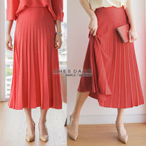 Flared Skirts Casual Style Pleated Skirts Medium Long