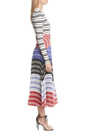 Stripes Flared U-Neck Long Sleeves Long Party Style