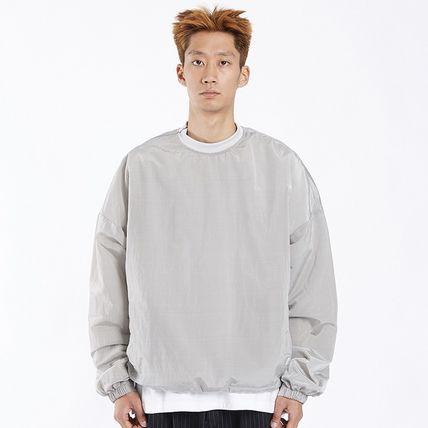Unisex Nylon Long Sleeves Cotton Logo Sweatshirts