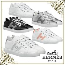 HERMES Casual Style Leather Logo Low-Top Sneakers