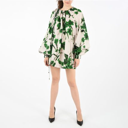 Flower Patterns Long Sleeves Cotton Long Puff Sleeves