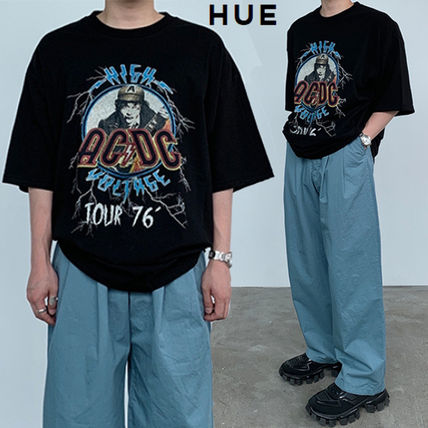 HUE More T-Shirts Street Style Collaboration Plain Cotton Short Sleeves