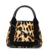 BALENCIAGA NAVY Leopard Patterns Casual Style 2WAY Leather Elegant Style