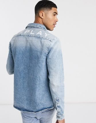 Denim Street Style Plain Denim Jackets Logo Jackets