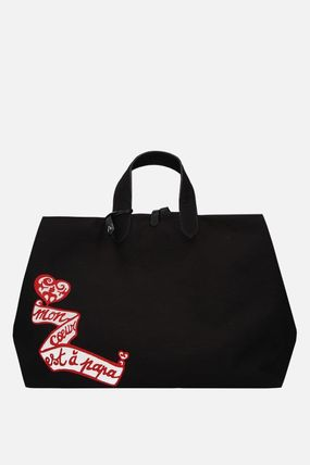 Casual Style Canvas A4 Plain Elegant Style Totes