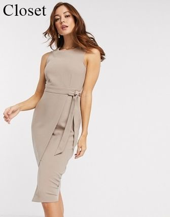Wrap Dresses Casual Style Tight Plain Medium Party Style