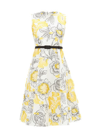 Flower Patterns Casual Style Silk Sleeveless Flared Cotton
