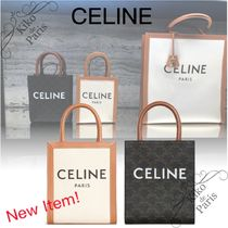 CELINE Vertical Cabas Canvas 2WAY Logo Totes