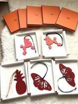 HERMES petit h Unisex Calfskin Plain Leather Logo Keychains & Bag Charms