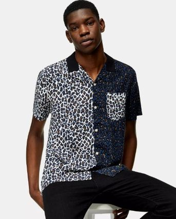 Leopard Patterns Street Style Short Sleeves Front Button
