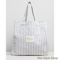 The Beach People Stripes Casual Style Logo Totes