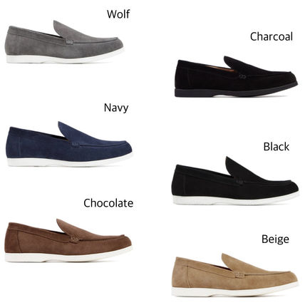 Loafers Suede Plain Leather Loafers & Slip-ons