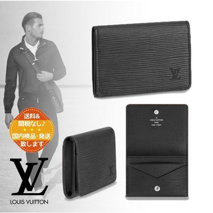 Louis Vuitton Unisex Plain Leather Folding Wallet Logo Card Holders