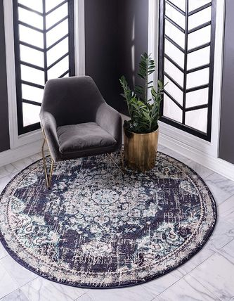 Round Ethnic Morroccan Style Bath Mats & Rugs Kitchen Rugs