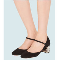 MiuMiu Suede Plain Leather Block Heels Party Style Office Style