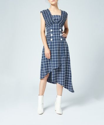 Other Plaid Patterns Casual Style Medium Short Sleeves