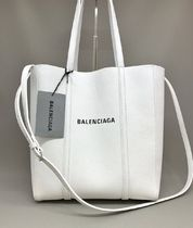 BALENCIAGA EVERYDAY TOTE Casual Style Leather Elegant Style Logo Totes