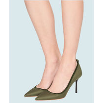 MiuMiu Casual Style Plain Leather Pin Heels Party Style