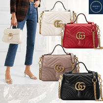 GUCCI GG Marmont Casual Style Suede Plain Leather Elegant Style Logo Handbags