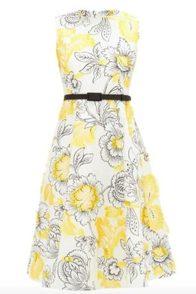 Crew Neck Flower Patterns Casual Style A-line Sleeveless