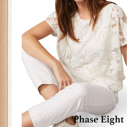 Short Casual Style Street Style Short Sleeves Lace