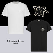 Christian Dior Crew Neck Unisex Street Style Plain Cotton Short Sleeves