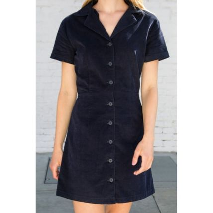 Short Casual Style A-line Flared V-Neck Plain Short Sleeves