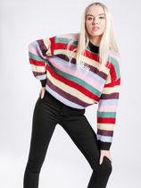 STUSSY Stripes Casual Style Long Sleeves V-neck & Crew neck