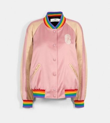 Coach Logo Stripes Plain Souvenir Jackets