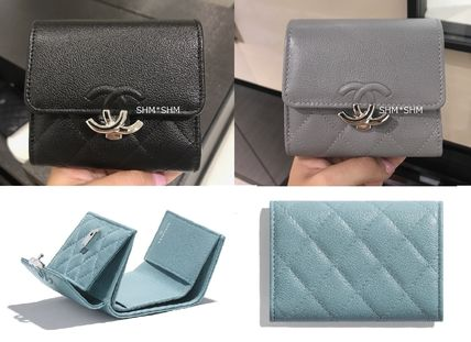 CHANEL Blended Fabrics Plain Leather Folding Wallet Small Wallet