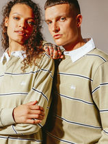 STUSSY Stripes Long Sleeves Cotton Polos Skater Style Polos