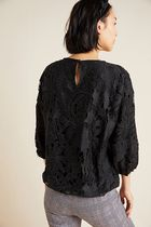 Anthropologie Casual Style Medium Lace Elegant Style Puff Sleeves