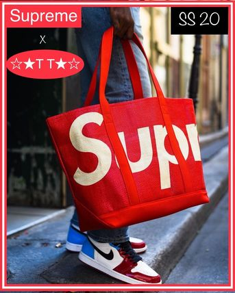 Unisex Canvas Street Style Collaboration A4 Plain Logo Totes