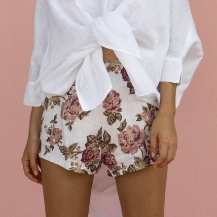 Flower Patterns Linen Shorts