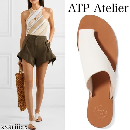 Open Toe Round Toe Casual Style Plain Leather Office Style