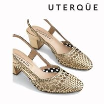 Uterque Casual Style Blended Fabrics Plain Leather Block Heels