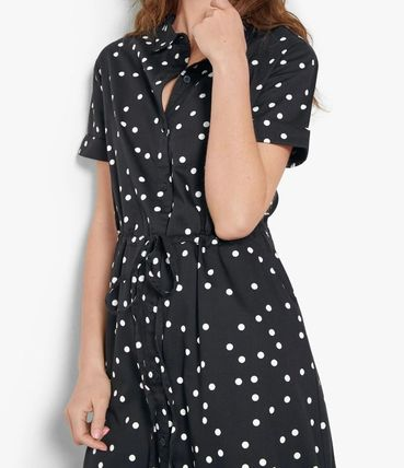 Dots Casual Style A-line Flared Bi-color Cotton Medium