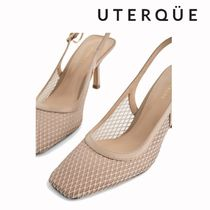 Uterque Gingham Square Toe Casual Style Blended Fabrics Plain