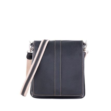 Unisex Calfskin Plain Small Shoulder Bag