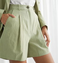& Other Stories Short Casual Style Linen Plain Cotton Party Style
