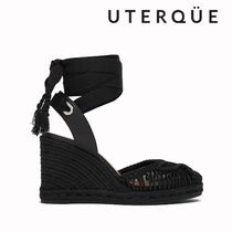 Uterque Open Toe Platform Lace-up Casual Style Blended Fabrics Plain